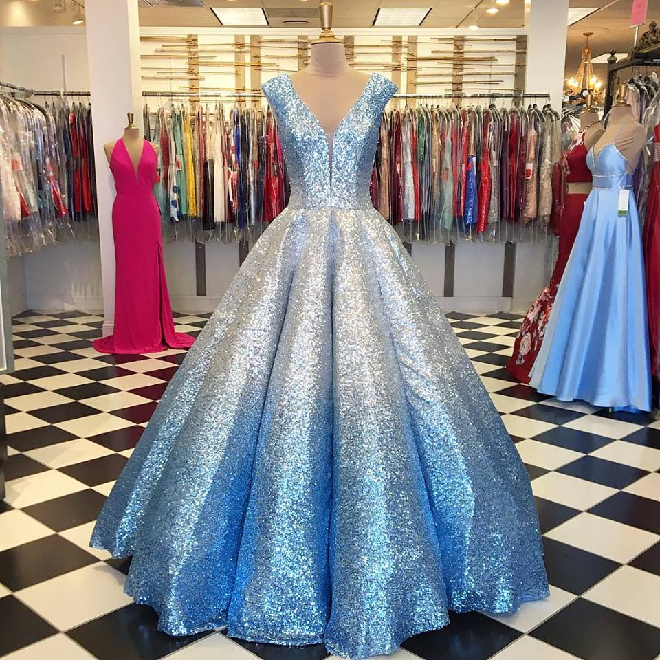Ombre Wedding Gown: Ombre Prom Dresses 2019 Ball Gown V Neck Cap Sleeves