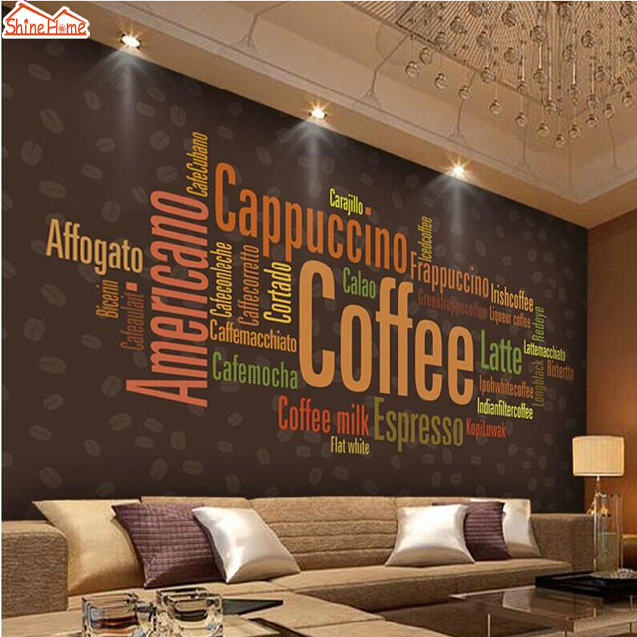 shinehome coffee letters menu fashion art wallpaper mural rolls for hotel bar store restaurant