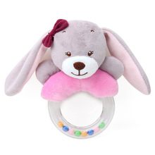 Cute creative cartoon little animal rabbit fox sheep hand bell baby plush toy practice grasping childrens toys suitable for 6M+