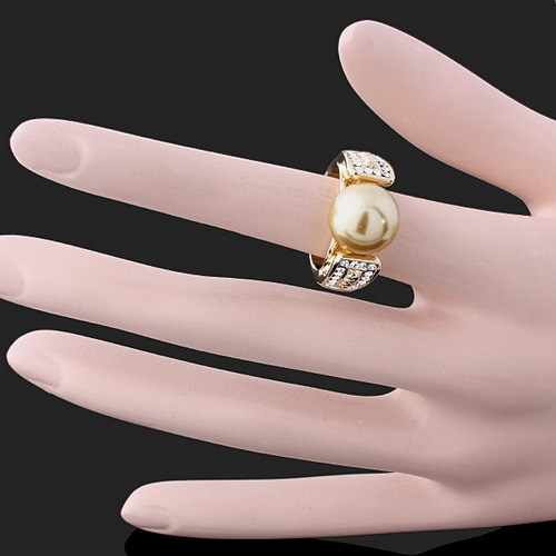 825 big discount women ring New Design Gold Color Imitate Pearl With Crystals / Rhinestones Rings For Women Wedding Jewelry