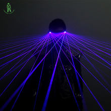 Free Shipping LED Laser glasses blue Light Dancing Stage Show DJ club Party Laserman gloves multi beams