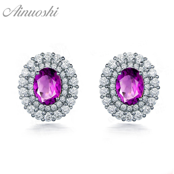 AINUOSHI Natural Amethyst Double Halo Earring 2.5ct Oval Cut Gem 925 Sterling Silver Stud Earring Engagement Party Women Jewelry