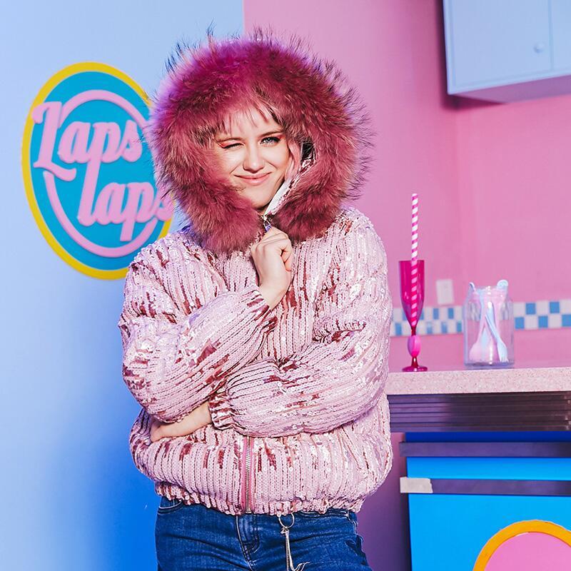 2018 Новое поступление женские пайетки пуховые пальто с плотным теплым меховым воротником Зимние с капюшоном пуховые пальто