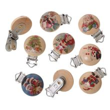 5pcs/lot Christmas Metal Wooden Baby Pacifier Clips Cartoon Animals Holders Cute Infant Soother Clasps Holders Accessories