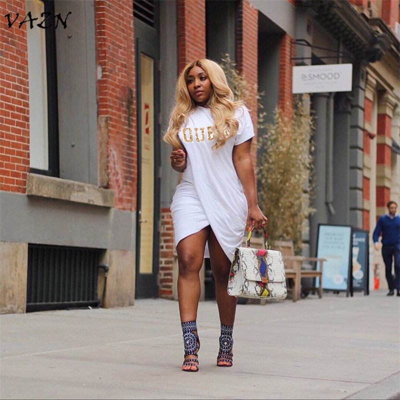 VAZN Special Design 2018 New Popular Casual Style Women Dress Solid Letter O-Neck Short Sleeve Bodycon Mini Dress Vestido H1010