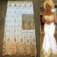 White And Gold 5yards African George Fabric 2yards French Net Lace Sets High Quality For Making