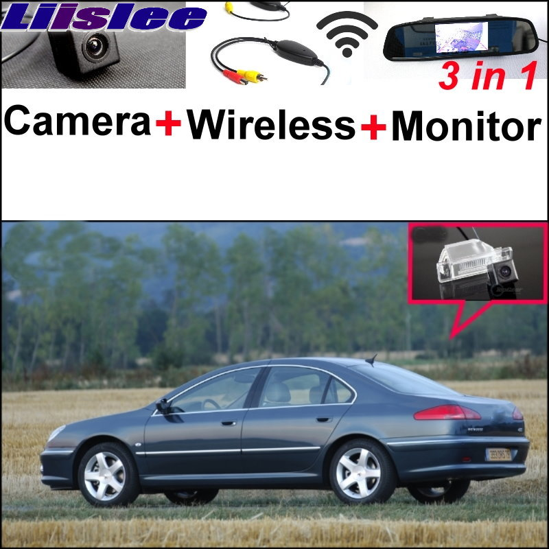 Liislee 3 in1 Special Rear View Camera + Wireless Receiver + Mirror Monitor DIY Back Up Parking System For Peugeot 607 806 807 3 in1 special rear view camera wireless receiver mirror monitor easy diy back up parking system for kia sportage r 2011 2015