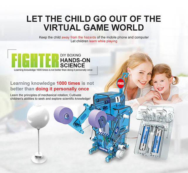 STEM Educational tecnologia Toys for Children Science Experiment Technology Boxer robot Toy DIY stem toys for kids Puzzle