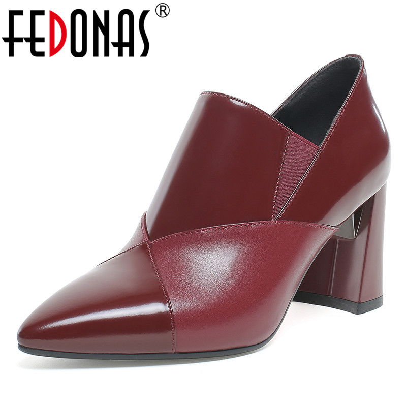 FEDONAS Women Genuine Leather Slip-on Pumps Spring Summer Elegant Pointed Toe High Heels Shoes Woman Female New Prom Pumps Shoes