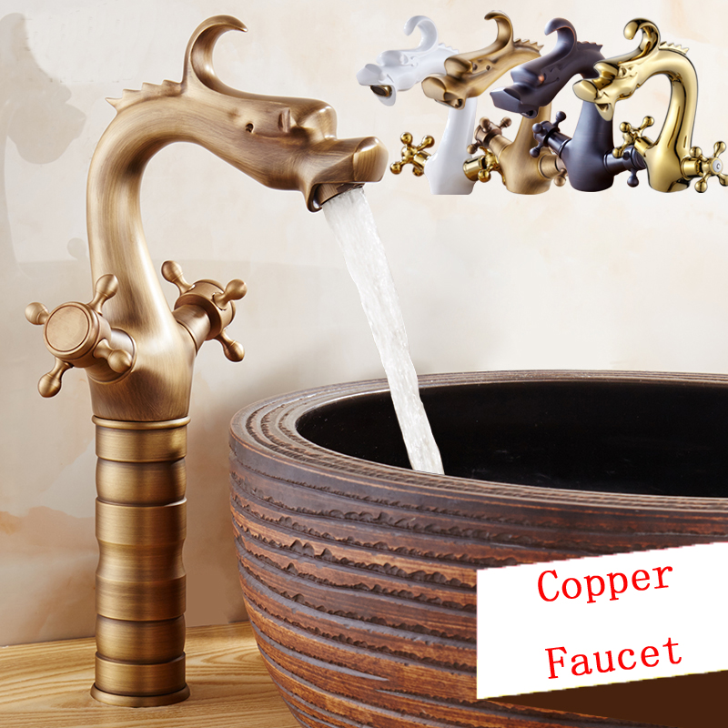 8 Type Retro Bathroom White Gold Basin Faucet Copper Dragon Style Basin Faucet Antique Brass