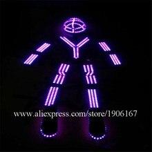 Свет робот костюм со светящимися вставками Костюмы танец Костюмы для бальных танцев костюм реквизит атрибуты Led растет торжественное мероприятие одежда