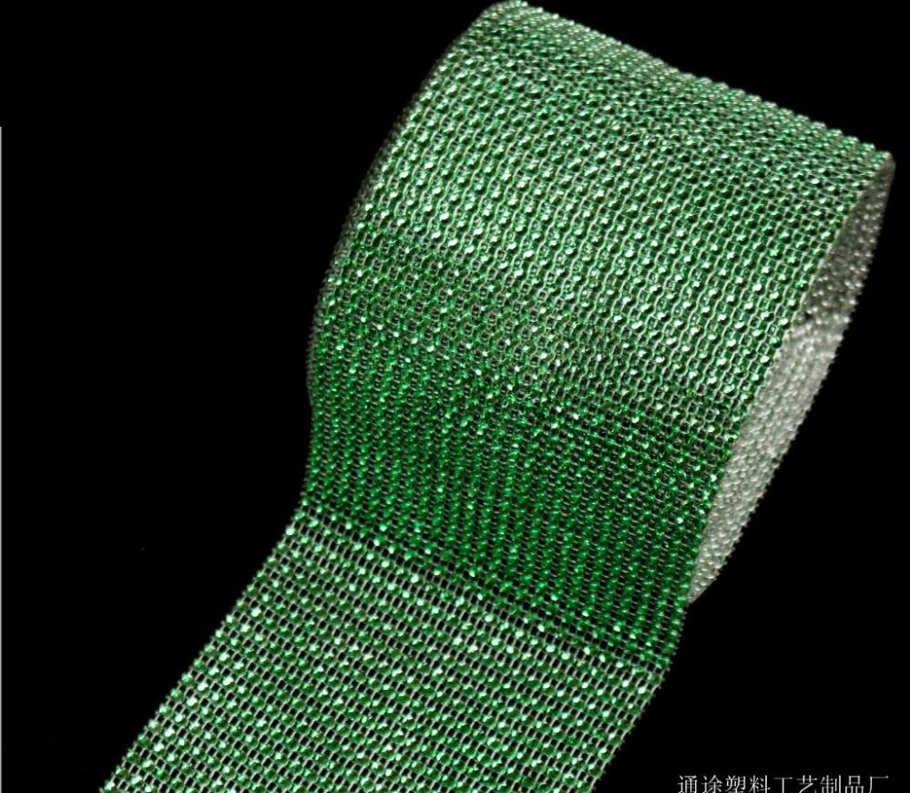 10Yard 24row Green Bendable Diamond Mesh Wrap Roll Sparkle Rhinestone Trim Ribbon For Wedding Gift Party Craft Decoration