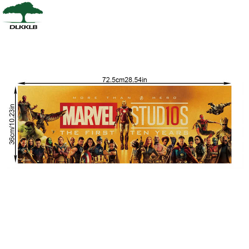DLKKLB Marvel Movie Poster Vintage Avengers 10th Anniversario B Style Kraft di Carta Pittura Decorativa Bar Cafe Casa Autoadesivo Della Parete
