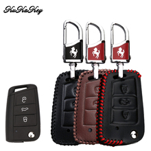 Genuine Leather Car Key Case Cover Protection For Skoda Superb A7 Volkwagen Passat B8 VW Golf Gte Styling Accessorise