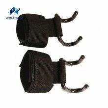 Wellsem Adjustable Strong Steel Hook Grips Straps Weight Lifting Strength Traini