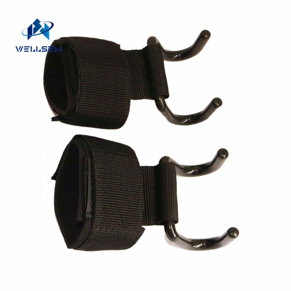 Wellsem Regolabile Forte Acciaio Hook Grips Cinghie di Sollevamento Pesi Training Gym Fitness Nero Supporto di Sollevamento Cinghie Da Polso