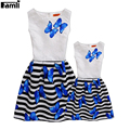 Famli 1pc Mom Kids Printed Dresses Family Matching Summer Fashion Floral Sleeveless Dress Outfits Mother Daughter Clothes Set