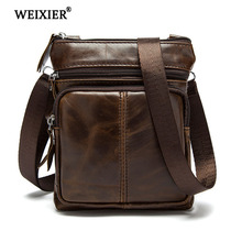 цены WEIXIER Fashion Men Genuine Leather Shoulder Bag High Quality Travel Crossbody Bag Men Cow Leather Messenger Casual Business bag