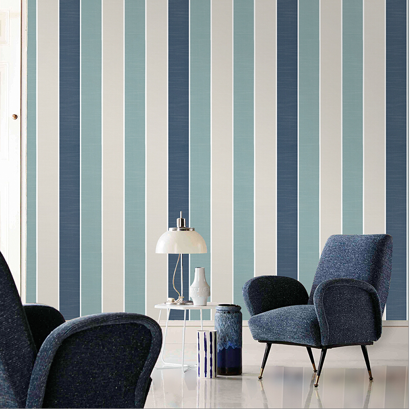 Blue purple apricot wide stripe wallpaper modern pvc vinyl for Wide wallpaper home decor