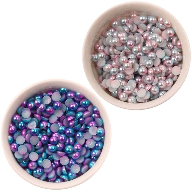 80pcs 5mm Half Round Abs Imitation Pearl Beads Sbook Craft Diy Jewelry Sewing Accessory Table Confetti