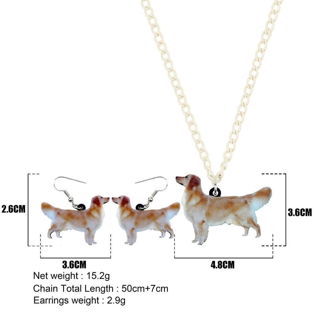 Bonsny אקריליק תכשיטי סט זהב רטריבר כלב שרשרת עגילי צווארון אופנה חמוד תליון לנשים בנות אביזרי NE + EA