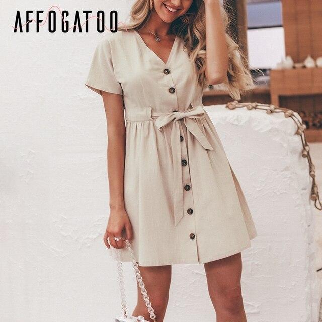 Affogatoo w stylu Vintage v neck lato lniana sukienka kobiety na co dzień z krótkim rękawem przycisk bawełna sukienka kobiet wysokiej talii mini sukienka vestidos