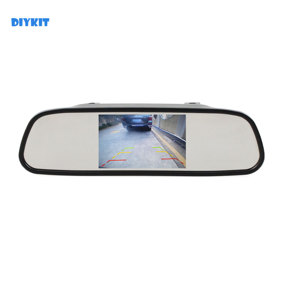 DIYKIT 5 inch HD Display Rear View Mirror Monitor 2ch Video Input Car Monitor for DVD Camera VCR