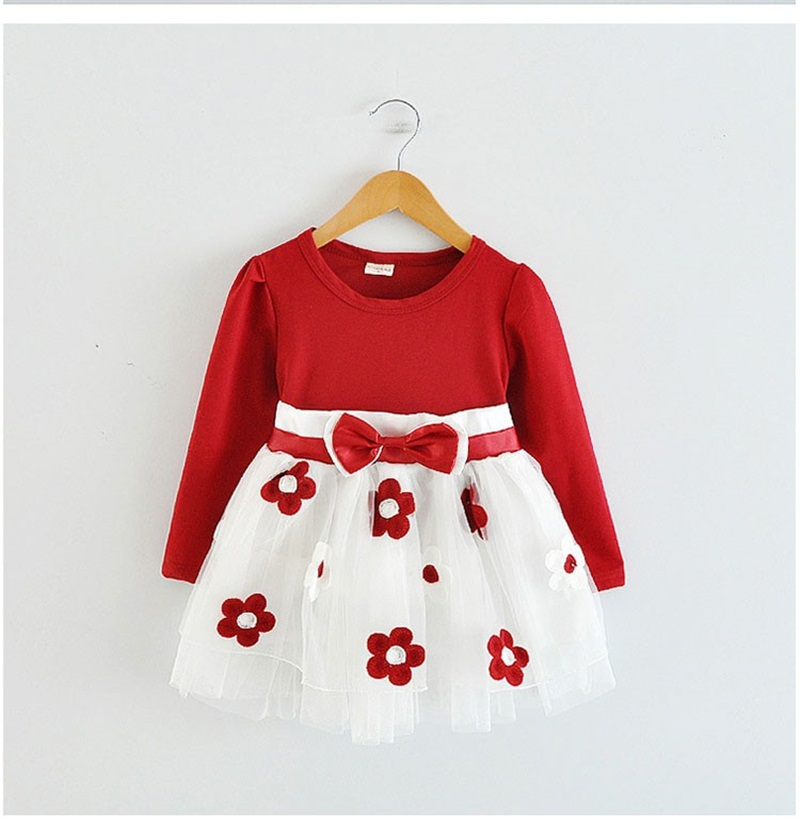 f398c423d Autumn Winter Long Sleeves Baby Cotton Flower Casual Party Dresses ...