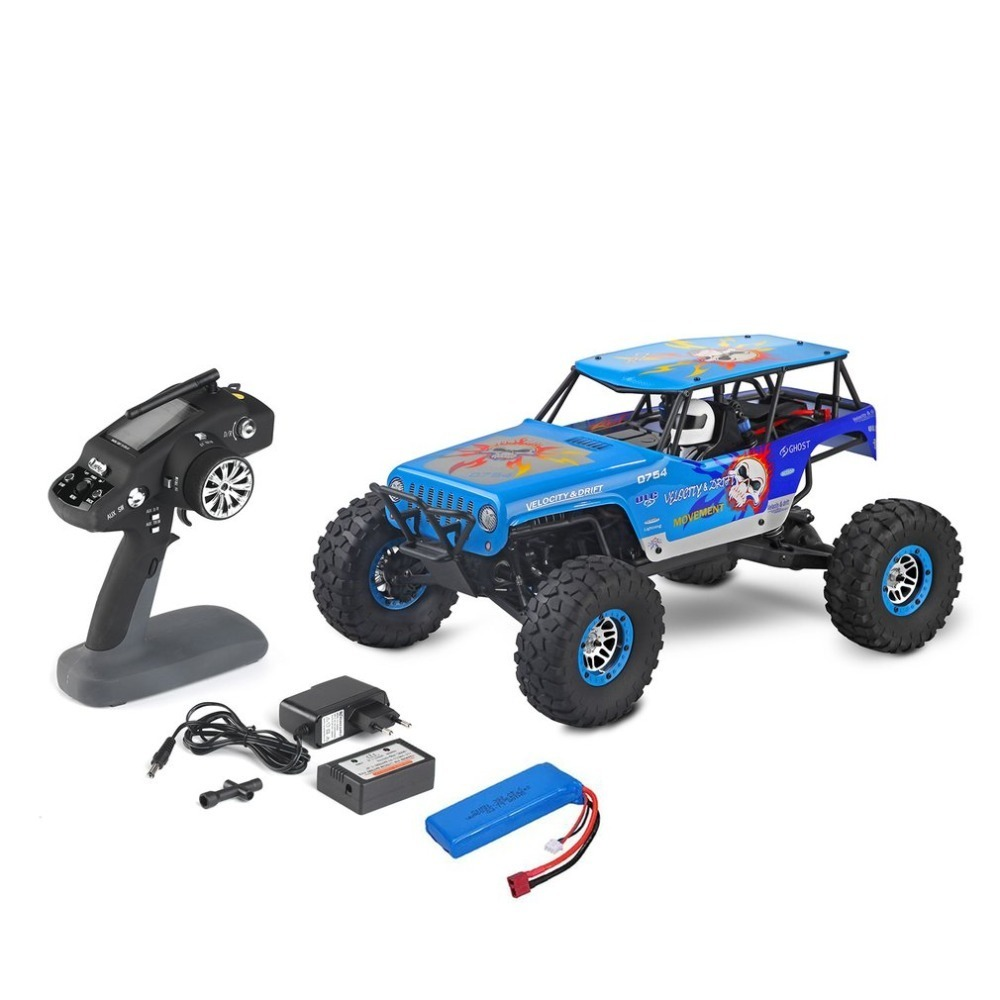 10428-A RC Car 4WD Electric Rock Climbing Crawler Desert Truck Off-Road Buggy Brushed Vehicle RTR with 2.4GHz Radio Controller new 7 2v 16v 320a high voltage esc brushed speed controller rc car truck buggy boat hot selling