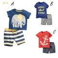 Мальчики Комплект Одежды Лета Лодка Якорь Рыбы Полосатый Хлопка мальчики Одежда Набор футболка Брюки 2 ШТ. Baby Set Одежда для Новорожденных
