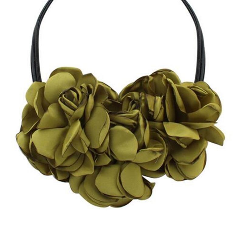 Vintage Flowers Pendant Necklace Bohemia Fabric Rose Flower Choker Necklace Statement Ladies Choker Neck Decor Gift in Pendant Necklaces from Jewelry Accessories