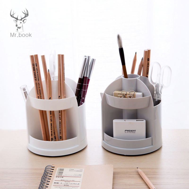 Multi-function 7 Grids Office Desktop Rotating Pen Holder Cosmetic Eyeliner Storage Box Pencil Case Desk Pen Pencil Organizer