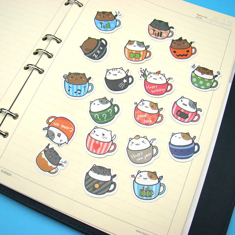1pcs Coffee Cat Cup Stickers Classic Graffiti For Suitcase Cool Laptop Skateboard Cartoon Toy Styling Phone Luggage Funny Decals