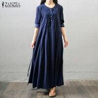 Oversized 2016 Autumn ZANZEA Women Vintage Long Maxi Dress Long Sleeve Buttons Pockets Casual Loose Solid