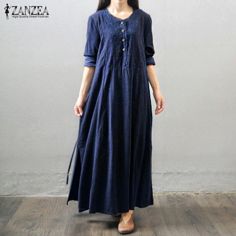 Zanzea mujeres de gran tamaño 2017 otoño de la vendimia larga maxi dress botones