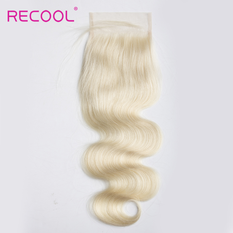 Recool Hair Human Hair Closure 613 Honey Blonde Body Wave Brazilian Hair 1 pc Free Part