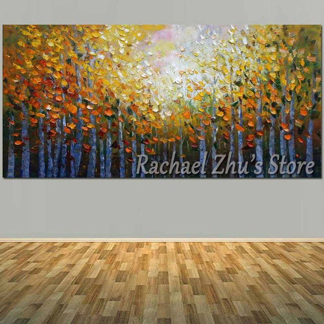Hand Painted Abstract Forest Landcape Oil Painting On Canvas Autumn