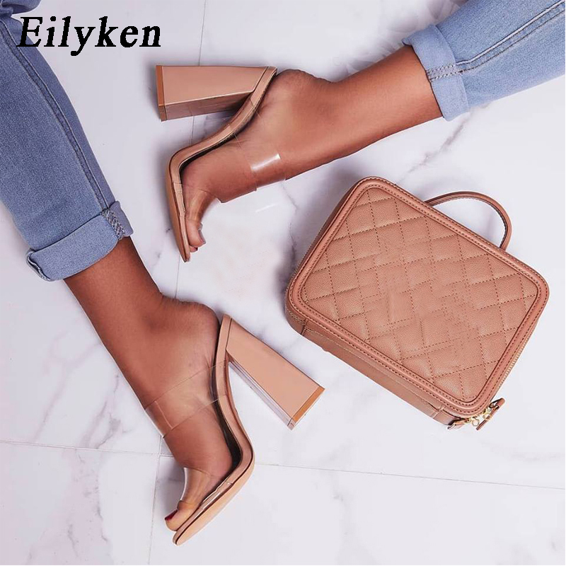 Eilyken 2020 Summer Square High Heels Mules Women Slippers PVC Transparent Slides Casual Slippers Shoes Size 35-42