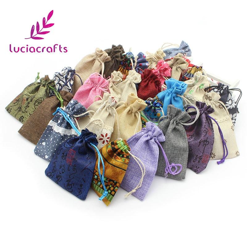 Lucia crafts 6pcs 9.5-14.5cm Cloth Fabric Storage Bags Drawstring Bag Household Pouch Bag Home Storage Organization 078002028