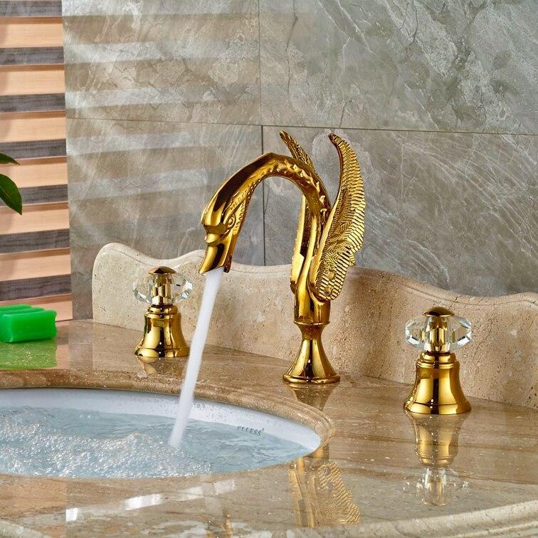 Double Lever Gold Finish Basin Faucet Vessel Sink Bath Tub Tap 3pcs Hot&Cold Faucet Deck Mounted