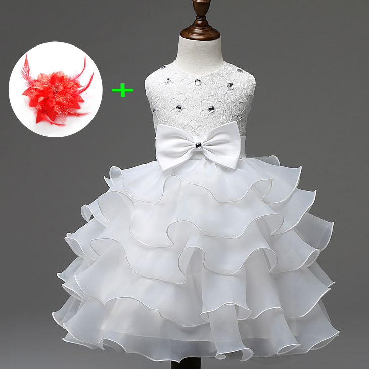 children clothes girls ruffle princess summer sleeveless babies red white flower girl dresses for weddings gril flower dress multi storey white clothes stage girl performance children show clothes for dance with a pair of glove