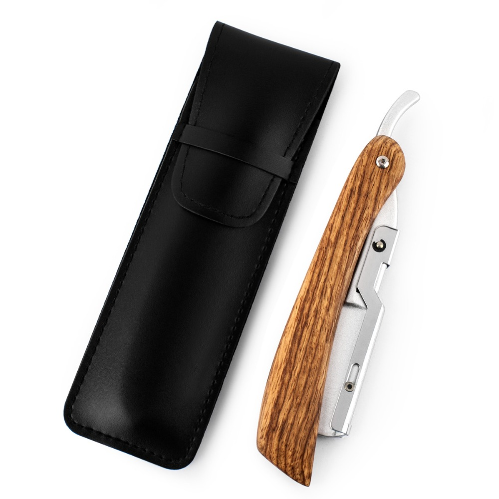 QSHAVE Hand Made Straight Razor Wood Handle Classic Safety Straight Razor Fit Whole Piece Double Edge Razor Blade