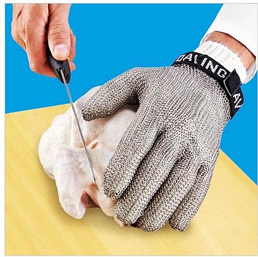Безопасные устойчивые к порезам защитные рабочие перчатки 100% из нержавеющей стали ANSI анти Резные Металлические Сетки Мясник Перчатки - 6