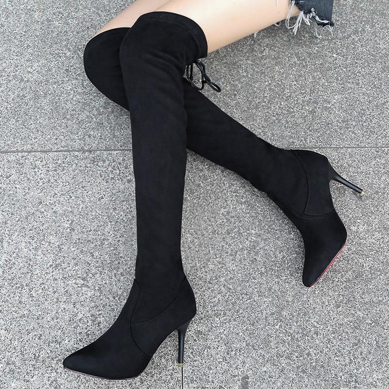Mujer Black Alto De Sobre 8cm M485 La 2018 Tacón Botas Invierno Black 9cm Thin Zapatos Puntiagudas Gruesas Rodilla Largas Para Tela Elástica Heel wIqnB8
