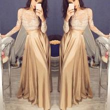 Women Formal Prom Long dress Evening Party Long Maxi dress Lace Blouse Set tight lace fitted maxi prom evening dress