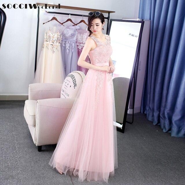 SOCCI Pink Long Tulle Lace evening dress Sleeveless bride wedding ...
