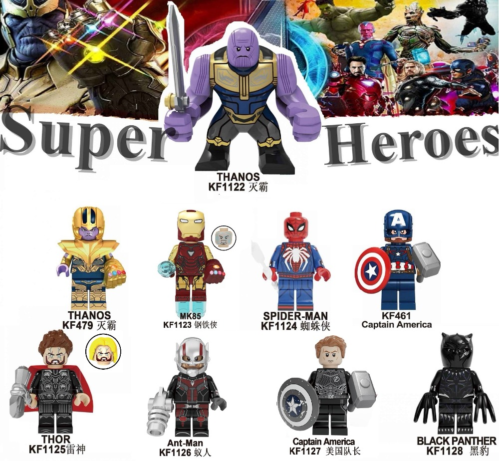 Single Sale Super Heroes Spider-Man Thor Thanos Captain America Movie 4 Black Planther Building Blocks Kids Gift Toys <font><b>KF6087</b></font> image