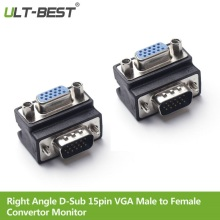 ULT Best Right Angle D Sub 15pin VGA Male to Female Convertor Monitor DB15 VGA RGB