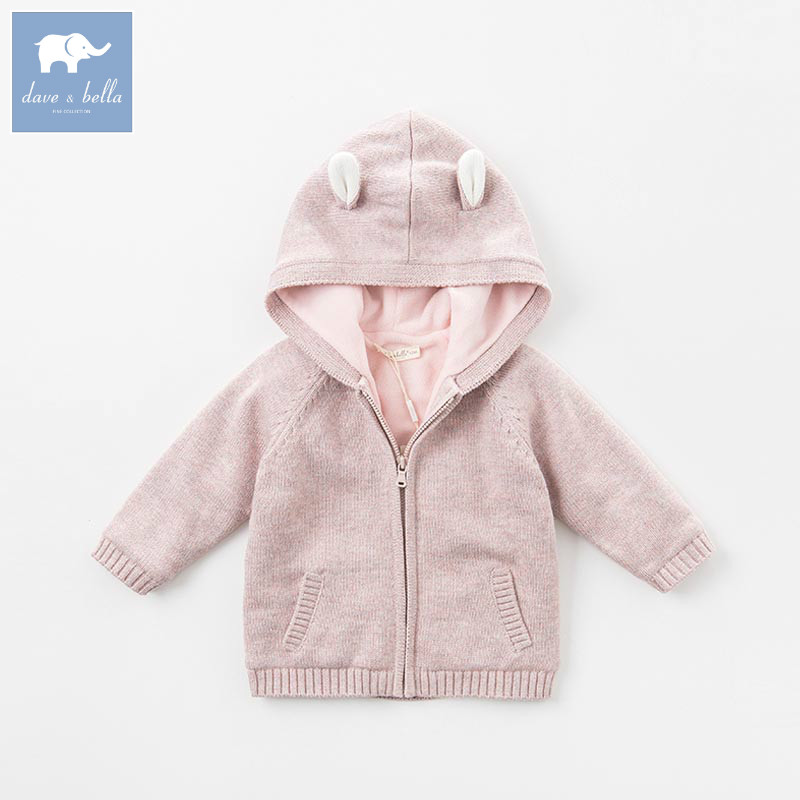 DB5516 dave bella autumn winter baby girls knitted sweater kids toddler hooded coat lolvely children cardigan t100 children sweater winter wool girl child cartoon thick knitted girls cardigan warm sweater long sleeve toddler cardigan