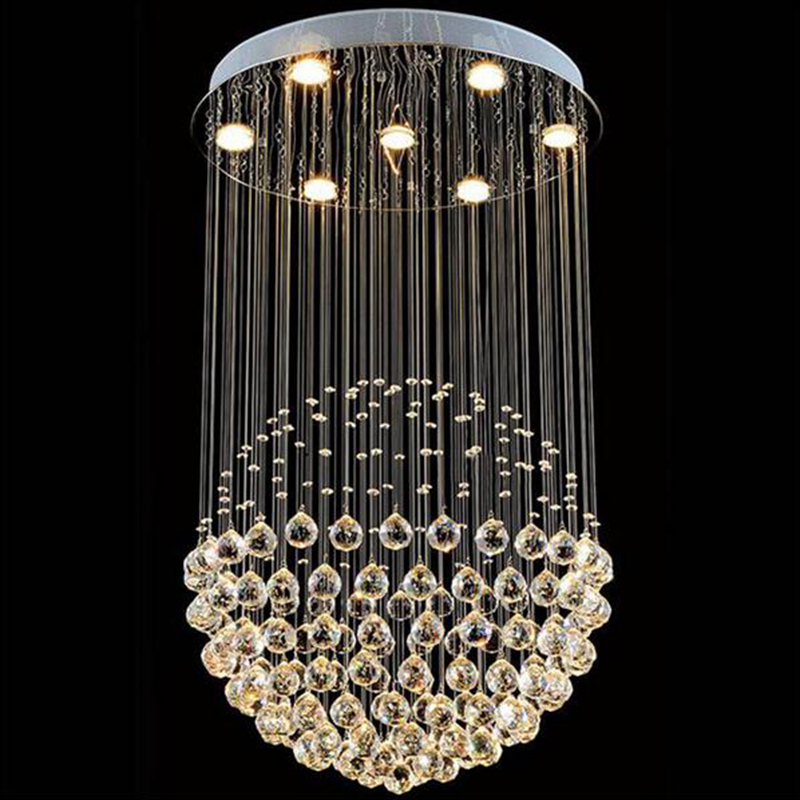 Manggic Modern K9 Large LED SphericLiving Room Crystal Chandeliers Round Light Fixture Lamp Room Interior Hotel
